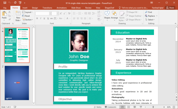 free single slide resume template for powerpoint