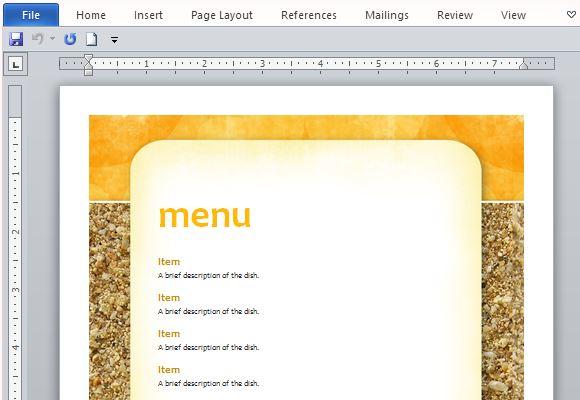 how to create printable menus in microsoft word