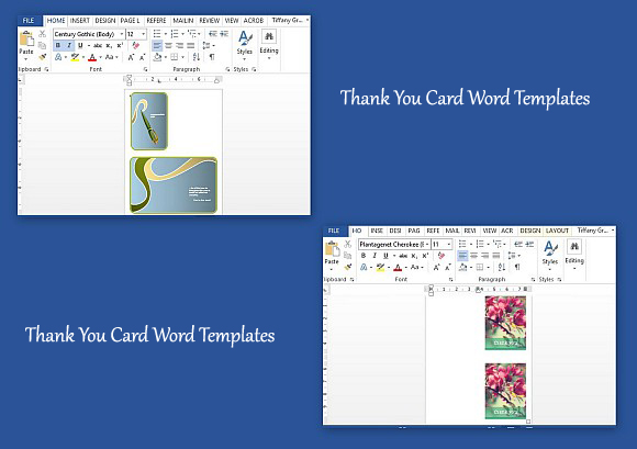 Thank you card word templates