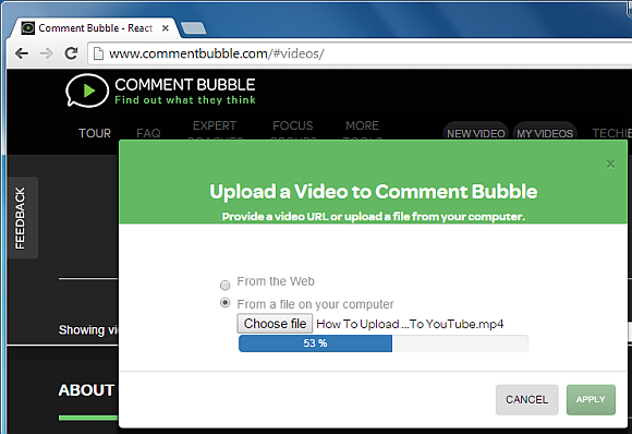 Upload video to Comment Bubble