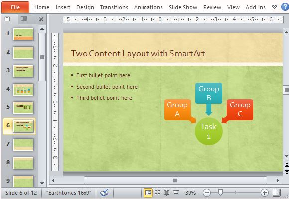 Use Complementary SmartArt and Other Objects to Match the Theme