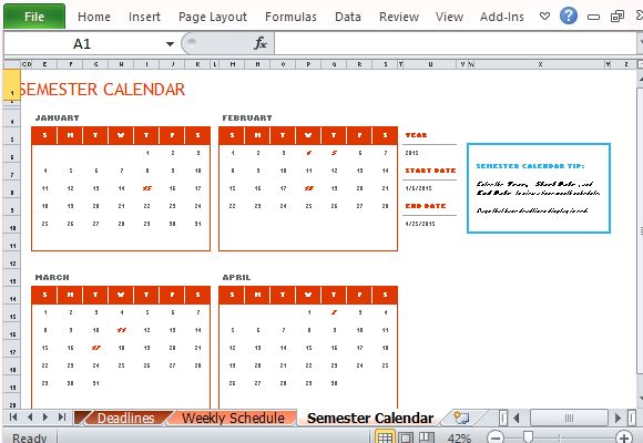 View All Your Activities in the Semester Calendar