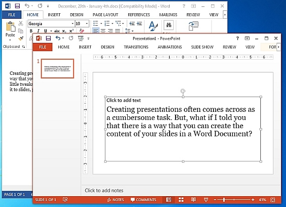 Word file exported as PowerPoint slide
