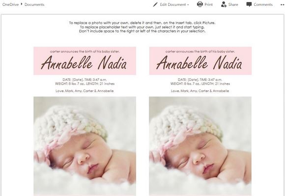 Ms Word Templates For Making Cards For Child Birth