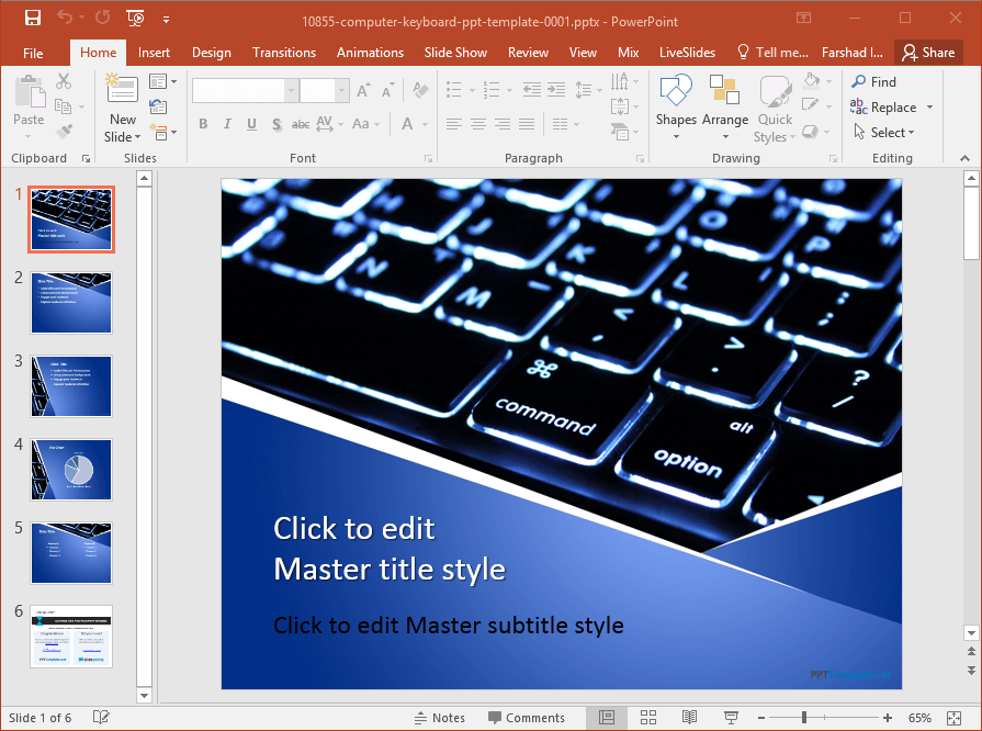 free computer keyboard powerpoint template