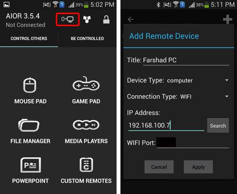 connect aio remote using pc