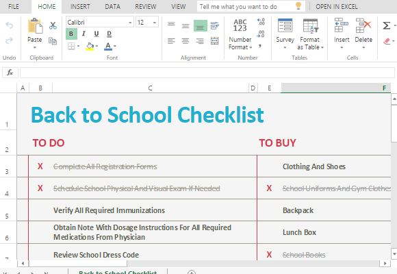 School Checklist Template for Excel Online
