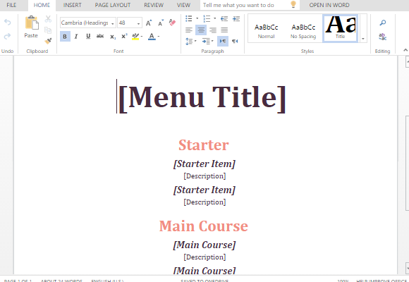 how to make a menu in ms word