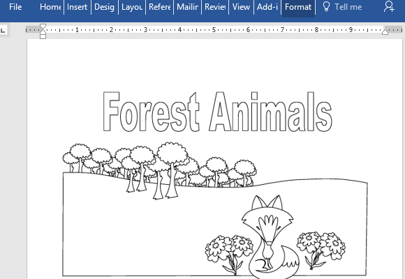 - Animals Educational Coloring Book For Microsoft Word