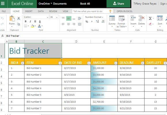 Bid Tracker Excel Template