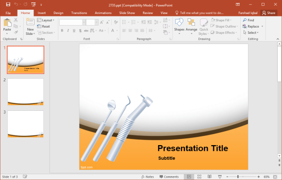 free dental instruments powerpoint template