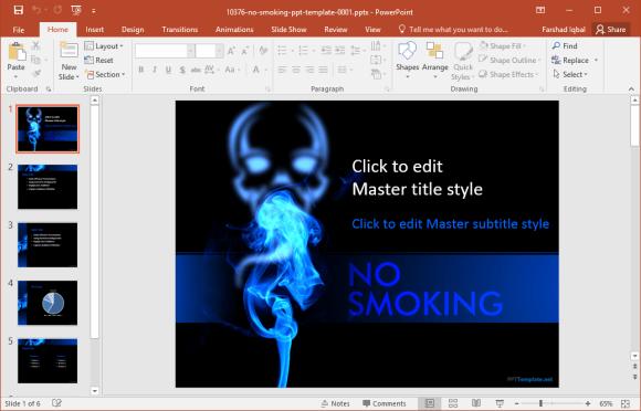 free no smoking powerpoint template