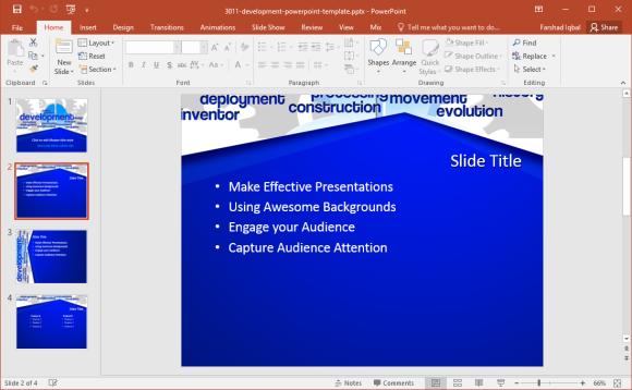 free presentation template on development